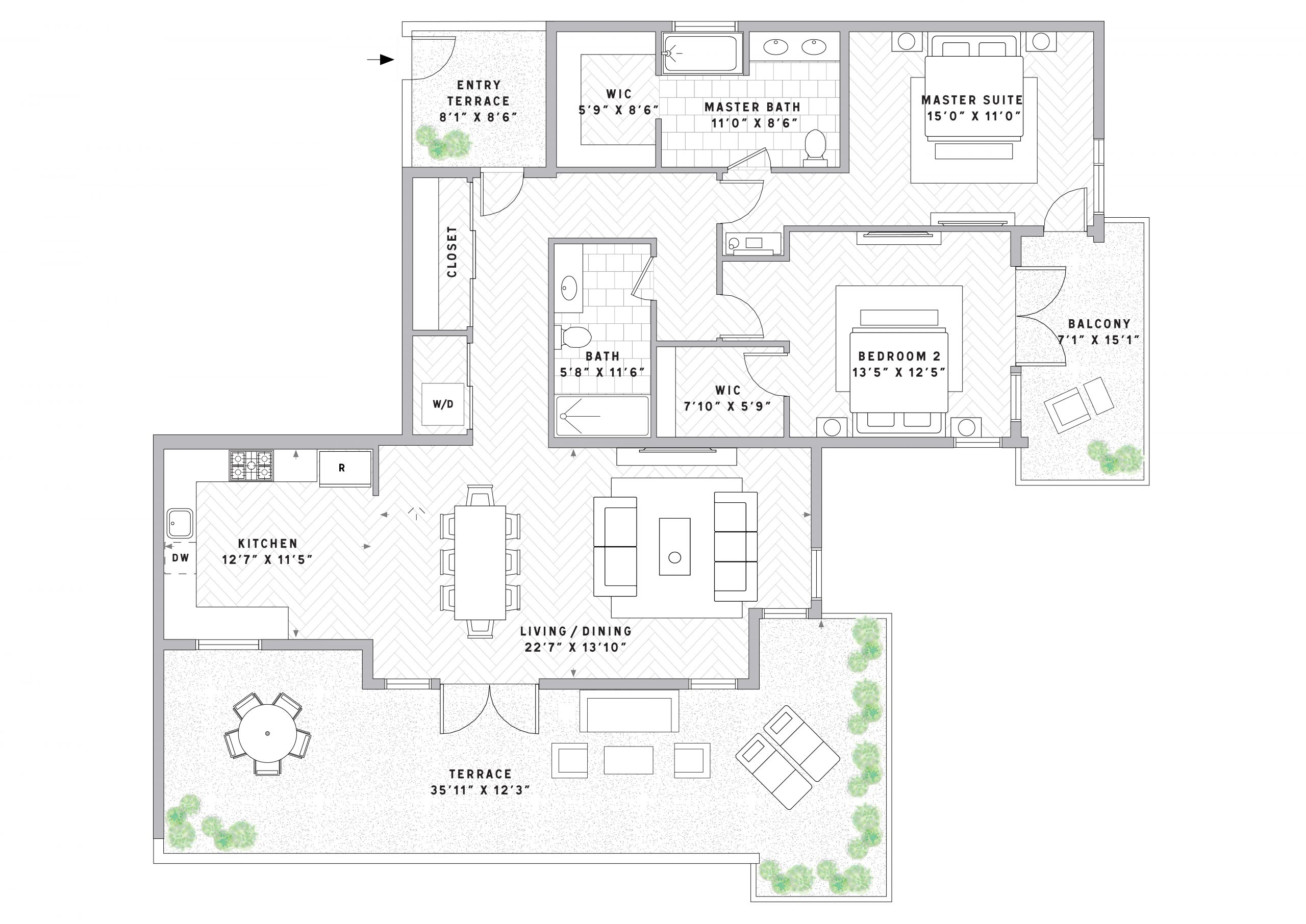 PlanPH12Bedroom | 2 Bath